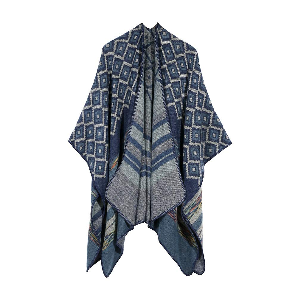 Excellent Women's Fall Winter Scarf Cloak Tassel Cape Mantle Scarf Quick Mild Kerchief Wrap Shawl Scarves (Color : Blue, Size : 51.1 x 59.06 Inch') by Excellent