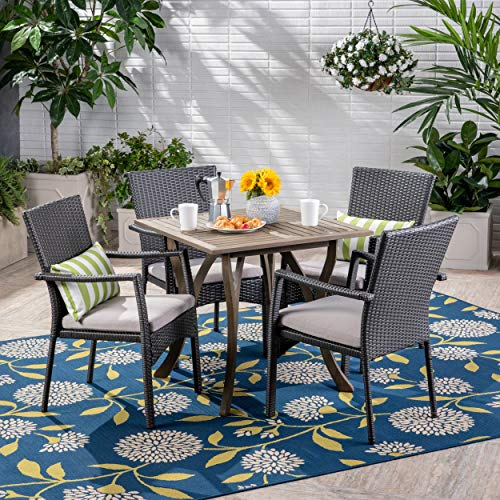 Great Deal Furniture 305220 Alva Outdoor 5 Piece Wood and Wicker Square Dining Set, Gray