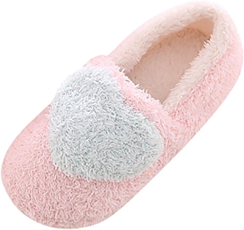 Fannyfuny Zapatillas de Estar por Casa para Mujer Zapatos de Casa de Invierno Antideslizantes Zapatos de Interior Suela de Algodón Acolchado Zapatillas Cálidas