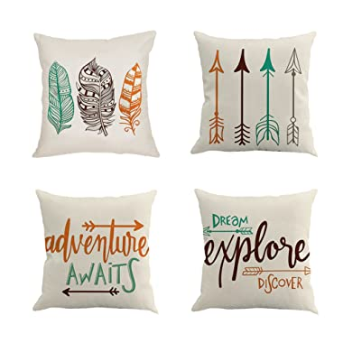Qinqingo Inspirational Quote with Arrow Throw Pillow Covers Decorative Cotton Linen Cushion Cover Home Sofa Decor Pillowcases Set of 4 (IAFQ-4pcs)