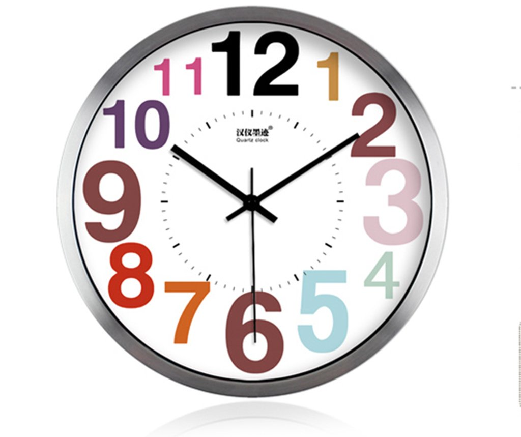 SESO UK- Entwerfen Sie moderne kreative Farbe Wanduhr stille Quarz Uhren ( Farbe : Silber , größe : 16 inches/40.5 cm )