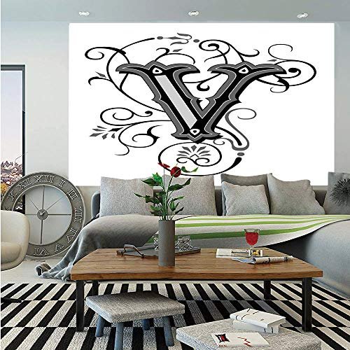 SoSung Letter V Wall Mural,Gothic Halloween Style Uppercase V with Curved Lines Ivy Stripes Calligraphy Decorative,Self-Adhesive Large Wallpaper for Home Decor 55x78 inches,Black Grey White