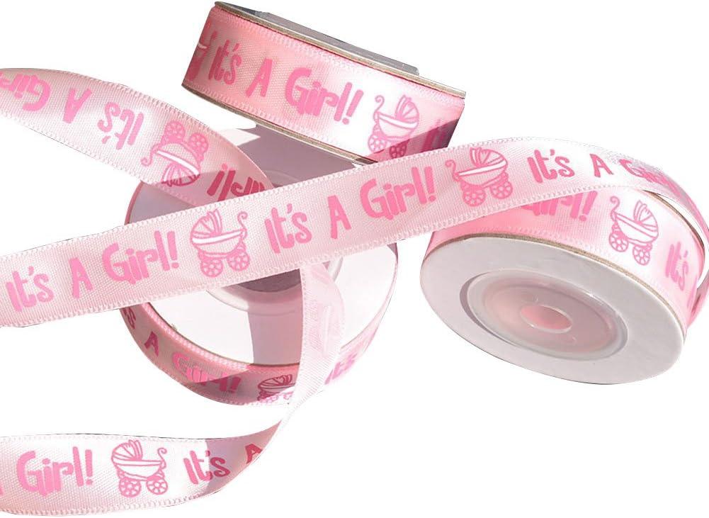 Gaeruite - Cinta de regalo para bautismo de bebé, 10 yardas/rollo es una niña/niño, cinta de satén para bautizo, para bautizo, bautizo, bautizo, satén, Rosa, as show
