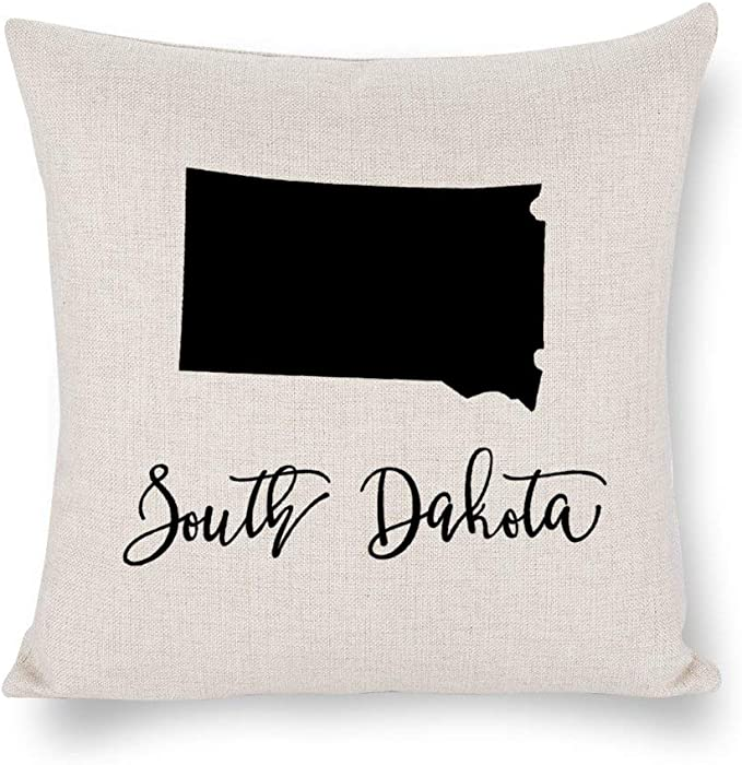 None Brand America South Dakota Outline Throw Pillow Cover Linen Square Pillow case 4th of July USA Cushion Cover Pillowcase with Zipper Home Decor 18x18 inch lyj86f30yus1