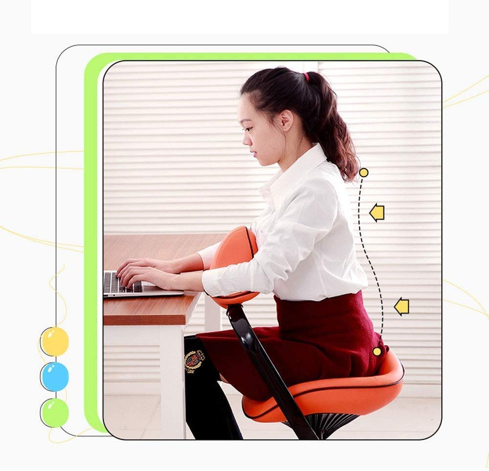 ZXL hållningskorrigeringsstol knästol korrigerande stol ergonomisk knästol ergonomisk hållning knästol justerbar pall med 180 graders rörligt armstöd, bröstskydd, orange Rosa