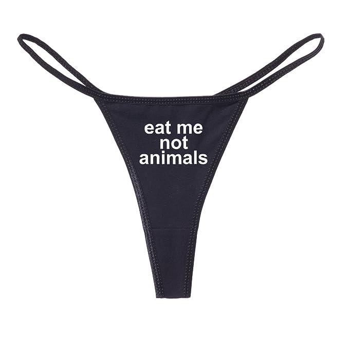 b8f34bd2448a Eat Me Not Animals Funny Women's Cotton Thong Bikini - [Black][Small]