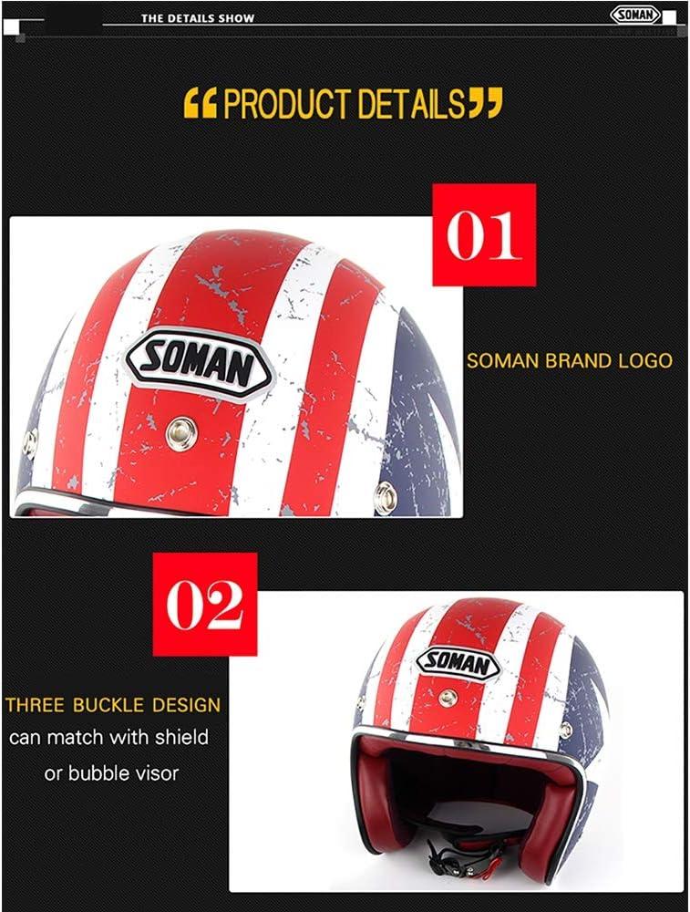 Schienen Brille YLee Retro-Helm Motorrad Harley Retro offenes Gesicht 3//4 DOT zugelassenen M/ännern und Frauen Sommer-Sommer-Sicher-Helm mit ,Black,M