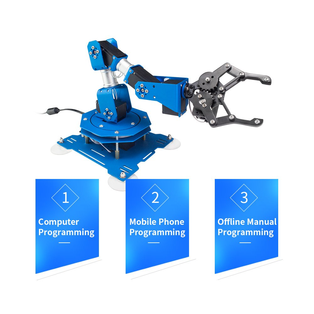LewanSoul xArm 6DOF Full Metal Programmable Robotic Arm with Feedback of Servo Parameter, Wireless/Wired Mouse Control, Mobile Phone Programming for Arduino Scratch by Hiwonder (Image #4)