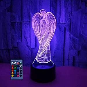 HPBN8 Ltd 3D Angel Night Light Illusion Lamp 7/16 Color Change LED Lamp USB Powered Remote Control Table Gift Kids Gifts Decor Decorations Christmas Valentines Gift