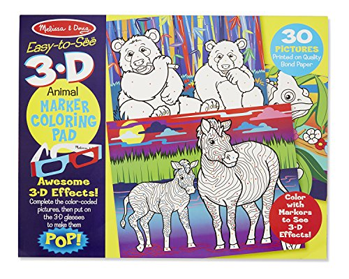 Melissa & Doug Easy-to-See 3-D Coloring Pad - - 3 Warehouse Deal