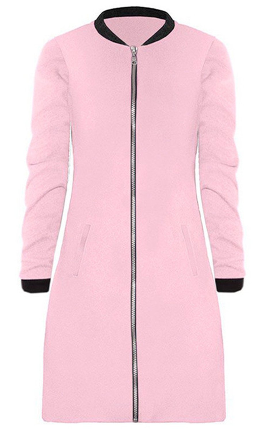 Winter Thick Warm Long Sleeve Plush Fabric Longline Overcoat Trench Duffle Coat Jacket Sweatshirt Top Zips Closure Pink L
