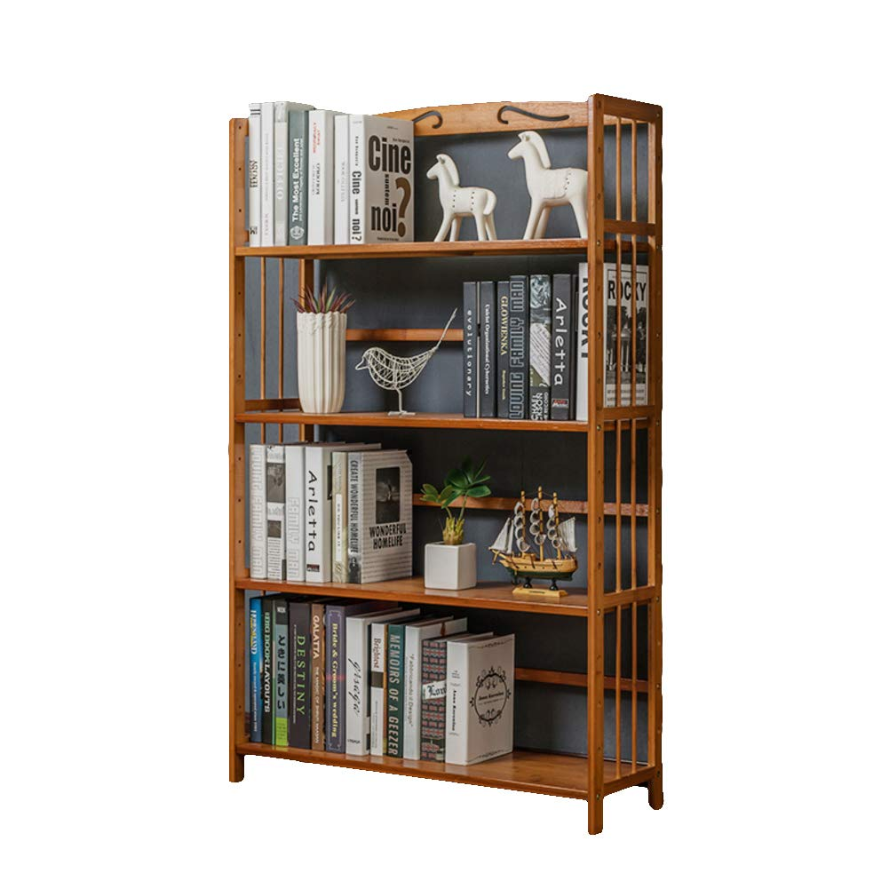 F 80X25X127cm Natural Bamboo 3-4 Tier Book Rack, Bookcases, Thickened Storage Rack Bookshelf Waterproof Living Room Bedroom Office in Home Kitchen-B 70X25X98cm