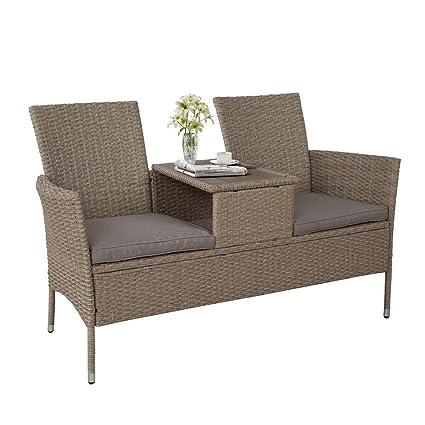 Excellent Amazon Com Simply Me Rattan Patio Furniture Loveseat Sofa Short Links Chair Design For Home Short Linksinfo