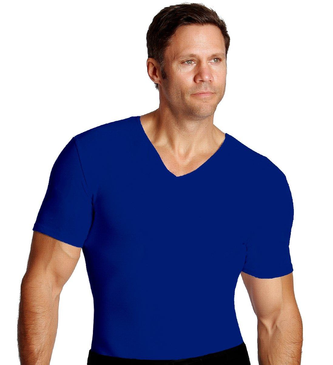 Insta Slim Men's V-Neck, Royal, Short Sleeve, T-Shirt
