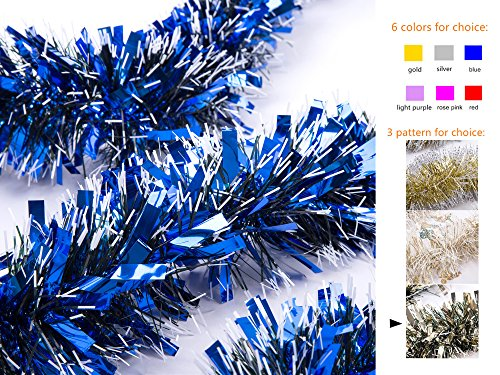 Blue Tinsel Christmas Tree - iPEGTOP 3Pcs x 6.6ft Hanging Tinsel Garland, Classic Thick Christmas Wedding Party Valentine Tinsel Tree Decorations, Blue