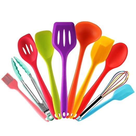 Küchenhelfer-Set aus Silikon, farbig, mit Kochlöffel, Pfannenwender, Löffeln, Schneebesen, Zange und Pinsel, hitzebeständig,