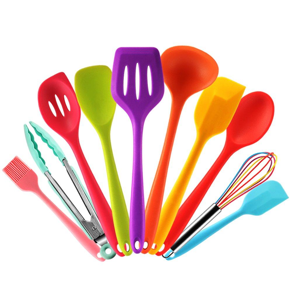 Set utensilios de cocina silicona de colores con Espátula,Cuchara,Cucharon,Espumadera,