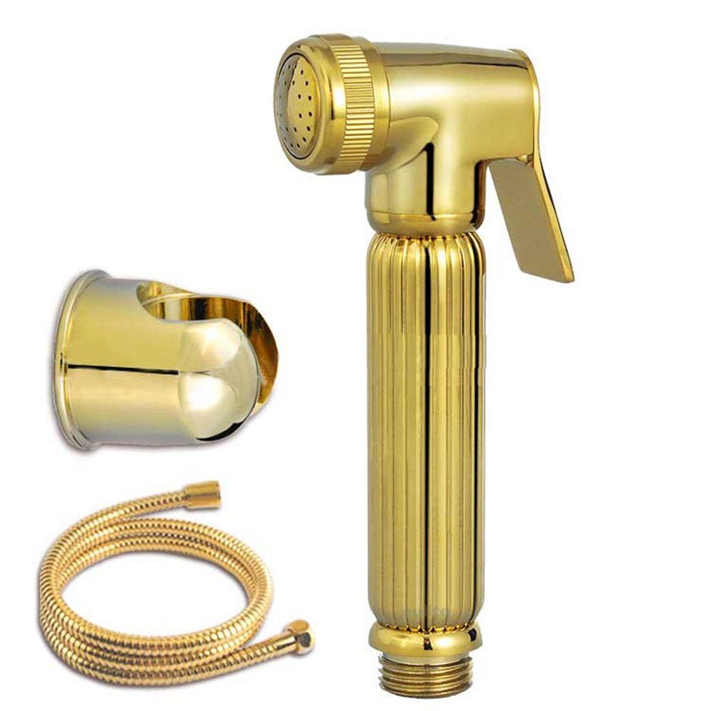 Homedec Luxury High Pressure Barss Gold Color Handheld Bidet Sprayer for Toilet Shattaf Kits With 1.5m Hose and Zinc Alloy Wall Holder Complete Full Sets(without T-adapter valve)