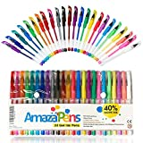 Gel Pens by AmazaPens - 24 Colored Pens - 40% More Ink - Glitter, Neon & Pastel. Superior Quality Coloring Pen. Best Gift for Adult Coloring Books or a Child Who Loves to Draw, Write or Color.