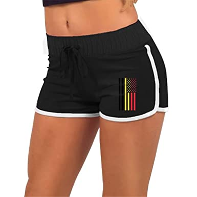 be7273cc3b Amazon.com: Yoga Sport Shorts, Womens Belgium American Flag Running Workout  Shorts Pants with Athletic Elastic Waist Black 2X: Clothing
