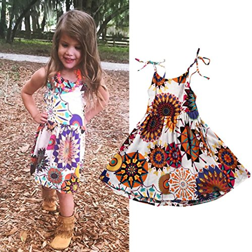 Hot Sale!Bohemian Princess Dress,BeautyVan Cartoon Fashion Toddler Kids Girls Flower Bohemian Princess Dress Sundress Clothes (2T, multicolor) -