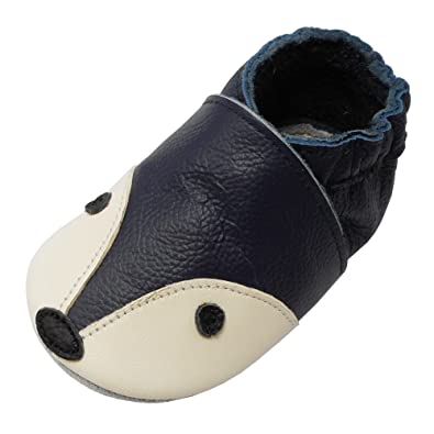 1a147cefd0a9c YIHAKIDS Bébé Filles Garçons Chaussures Cuir Souple Enfant Chaussons Cuir  Doux Chaussures Premiers Pas Dessin Renard