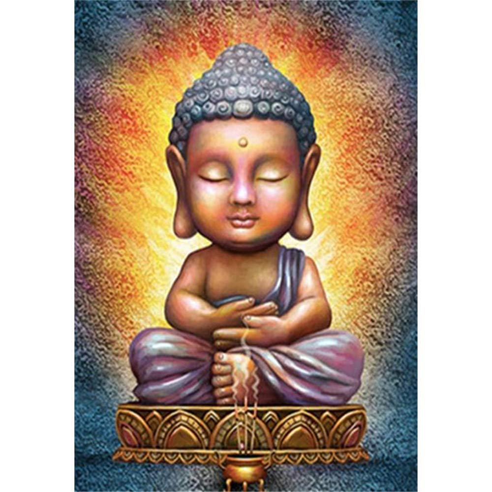 DIY 5D Diamond Painting Kits By Number Full Drill, Buddha Cartoon Rhinestone Embroidery Cross Stitch Pictures Arts Craft Home Wall Decor Gift, 30 * 40 CM Kissme8