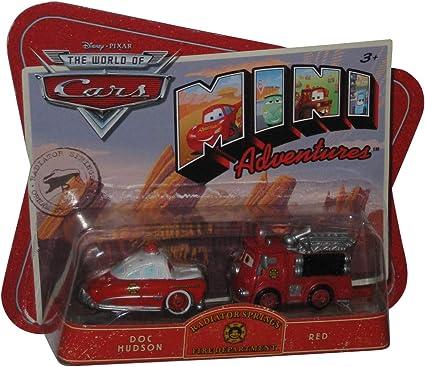 Amazon Com Disney Pixar Cars Movie Toy Mini Adventures Radiator Springs Fire Deptartment Doc Hudson Red Toys Games