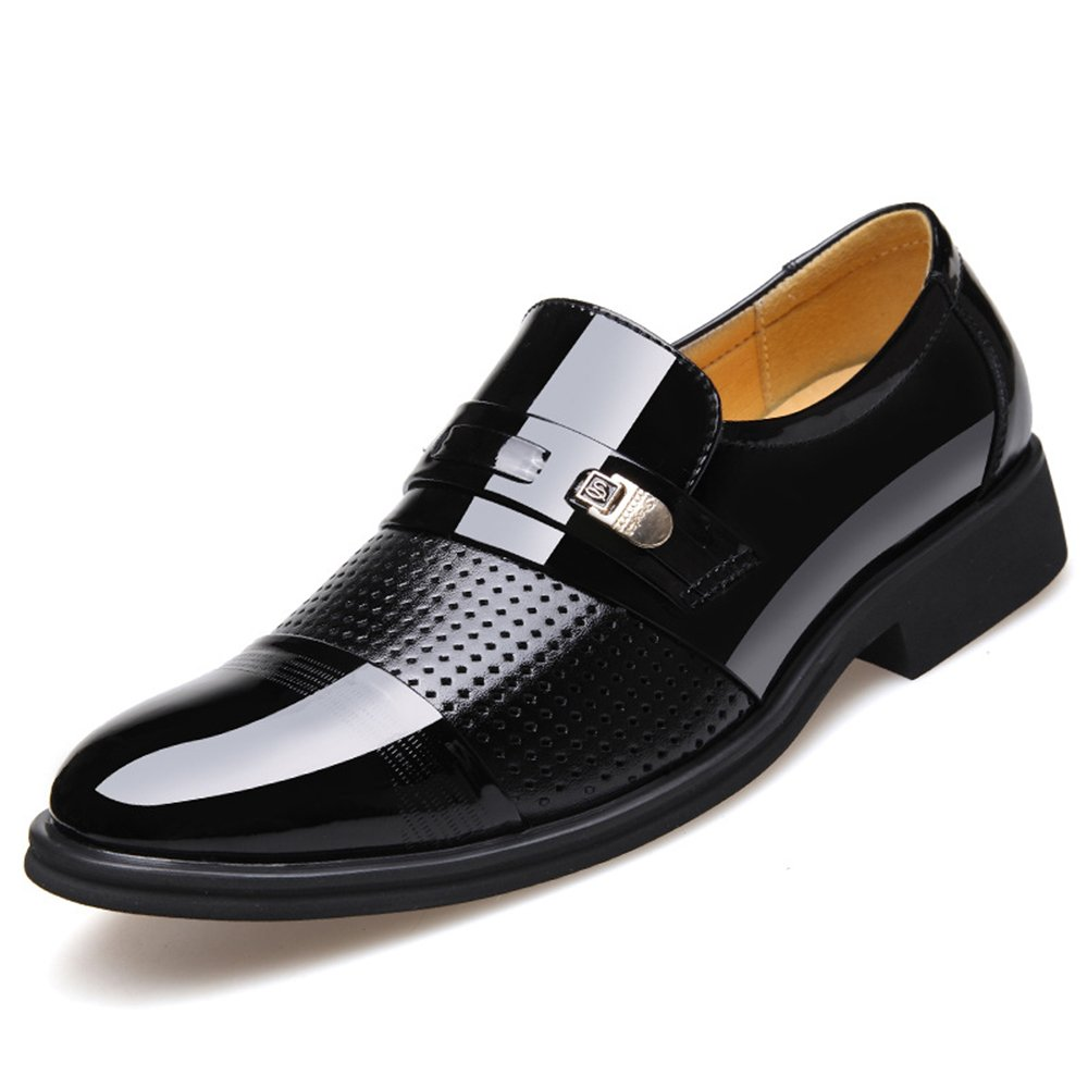 Blivener Men's Tuxedo Patent Leather Dress Shoes Slip on Oxfords 03Black 7.5