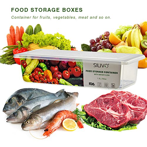 Food Storage Containers, 3 x 1.5L Fridge Organizer Case with Removable Drain Plate, Tray to Keep Fruits, Vegetables, Meat, Fish etc. Out of The Drippings