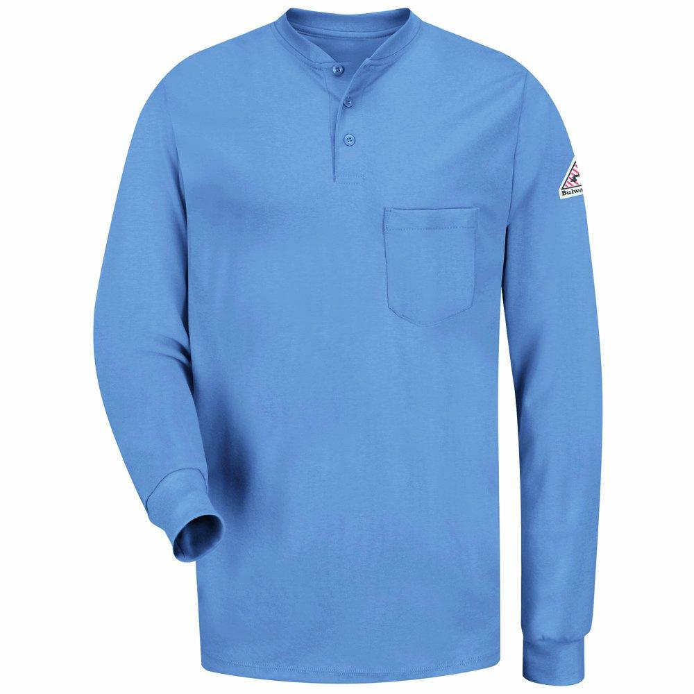 Bulwark Men's Flame Resistant 6.25 oz Cotton Long Sleeve Tagless Henley Shirt, Light Blue, X-Large SEL2LB RG XL