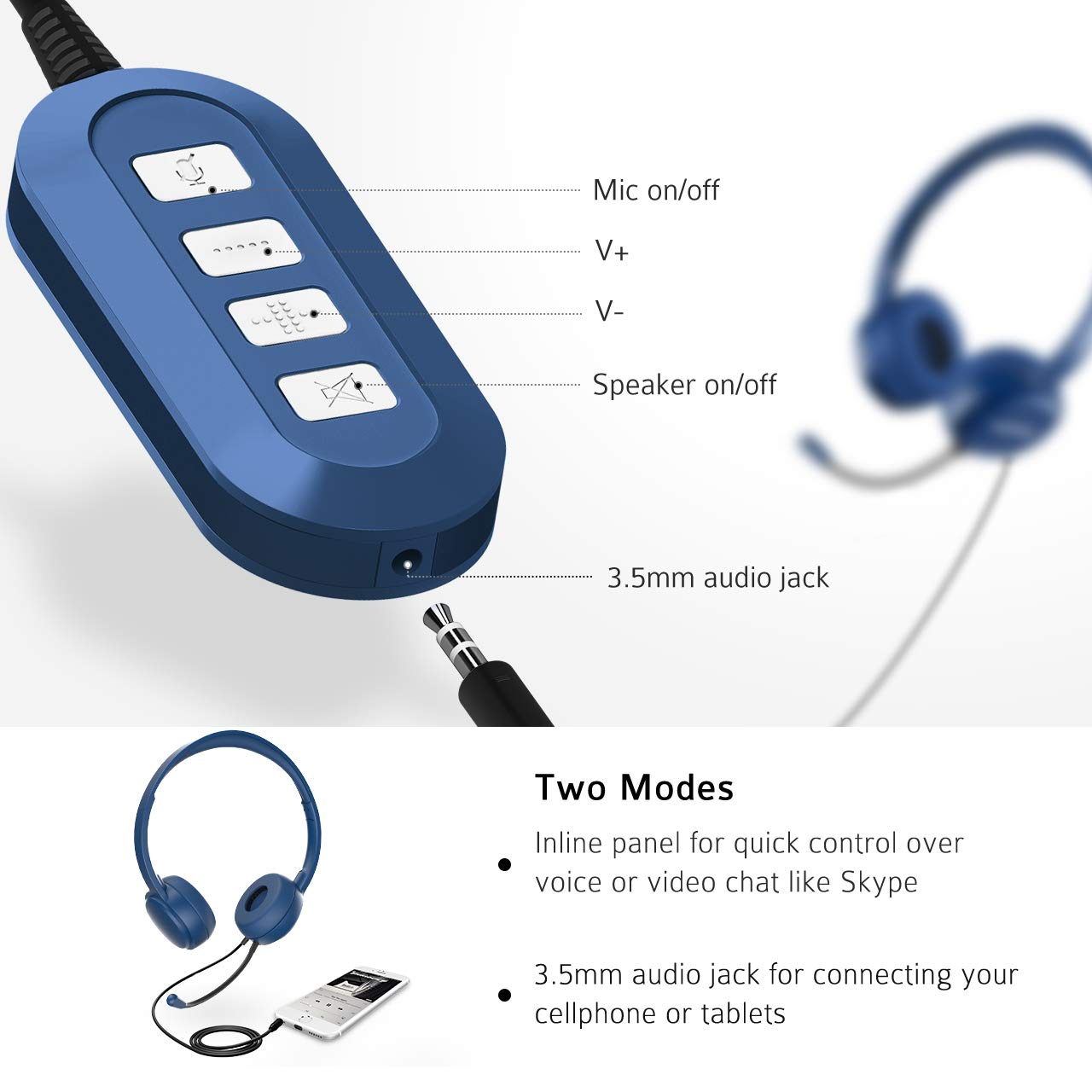 Mpow 071 USB Headset 3.5mm Computer Headset with Microphone Noise Cancelling bd05e85915