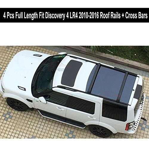 Fit for Land Rover Discovery 4 LR4 2010-2016 4Pcs Full Length Aluminium Roof Rail Roof Rack Cross Bars Crossbar - Black