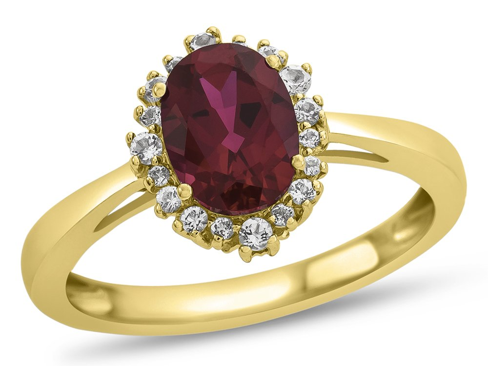 Finejewelers 10k Yellow Gold 8x6mm Oval Created Ruby with White Topaz accent stones Halo Ring Size 6