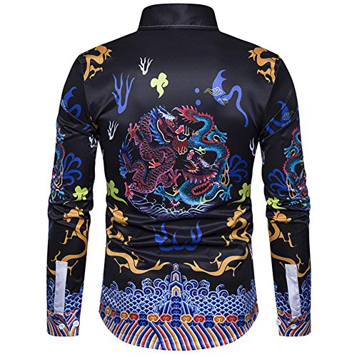Ancient Men's Dress Gold Shirts C2S Sleeves Dragon Long Printed with Chinese 5FO6xqdw