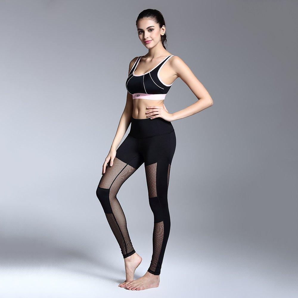 Pinjeer Trainings-Strumpfhosen-Eignung-Yoga-Klage-Sport der Frauen gesetzter für Weibliche Gymnastik-Kleidungs-Trainings-Zweiteiliger Reizvoller Hoher elastischer Yoga-Büstenhalter mit Yoga-Hosen