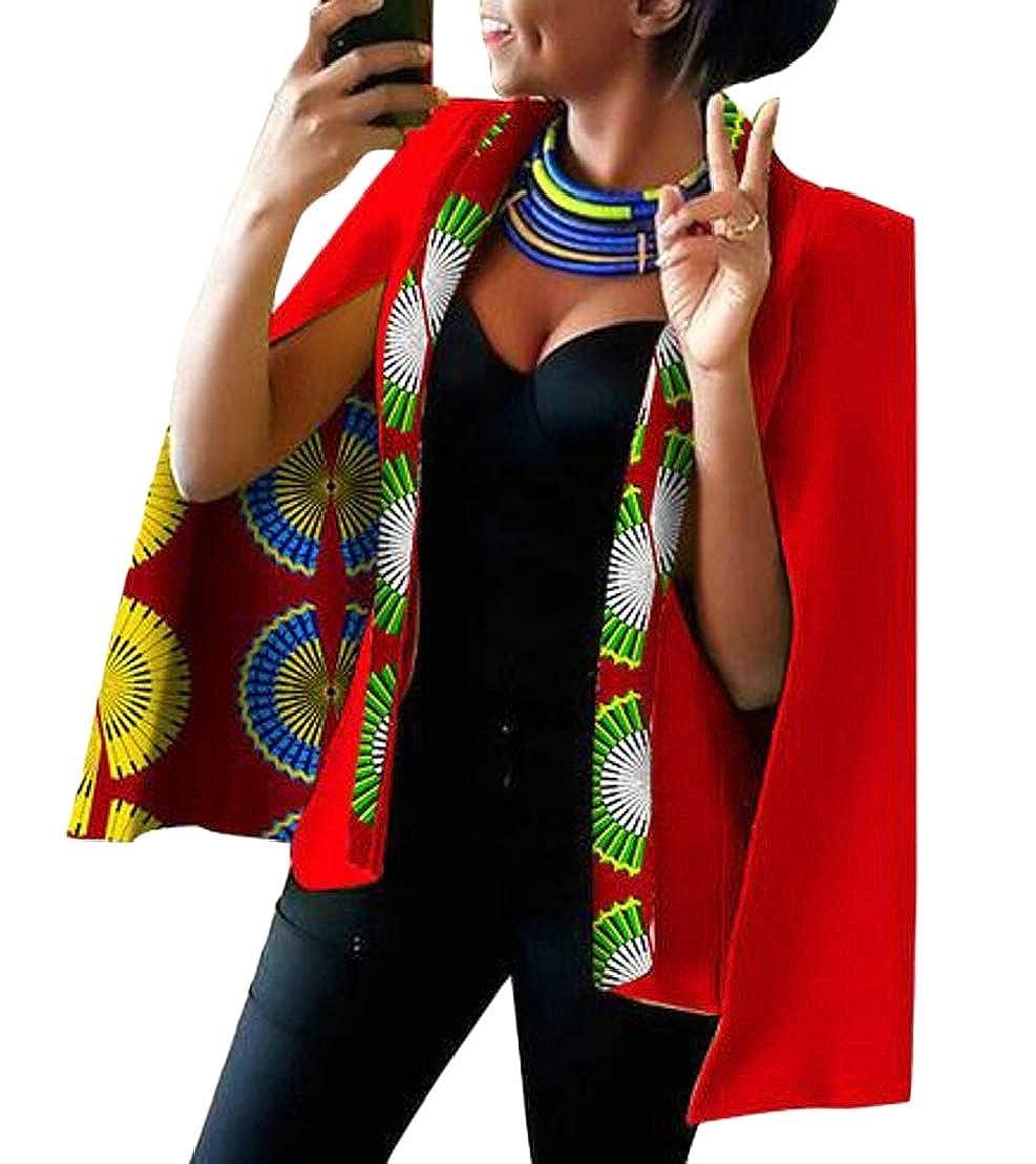 12 GenericWomen Long Sleeve African Floral Dashiki Split Sleeve Jacket Blazer Suits