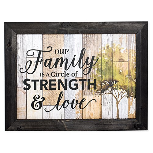 Our Family Circle of Strength Wood Plank Design 14 x 18 Weathered Black Framed Art Wall Sign (Strength Framed)