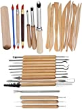 Youdepot 31PCS Pottery Tools Clay Sculpting Carving Tool Set - Includes Hole Cutter, Color Shaper, Ball Stylus and Wooden Sculpture Knife