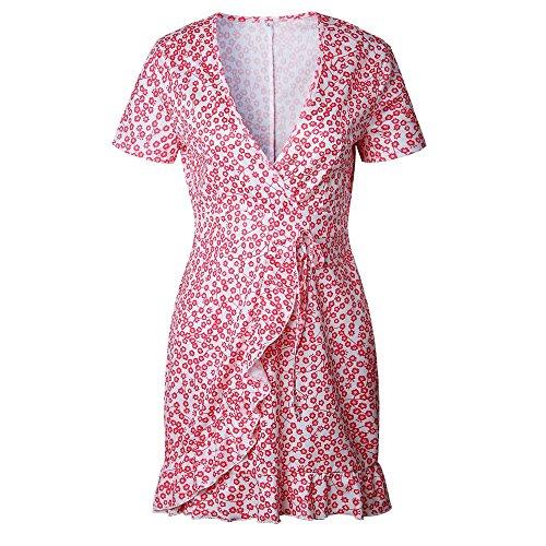 Plage Dcontracte Robes Rouge Ete Youngii V de Robe Fleur Femme Robe Mini Col Manches Courte RC6wOq