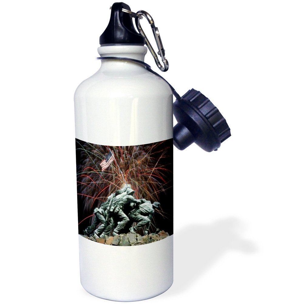 Sports Water Bottle 21 oz White 3dRose wb/_14248/_1 Marine Corp Memorial with Fireworks