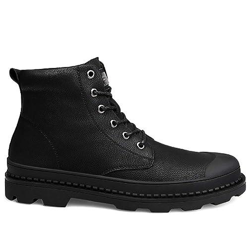 Calzado de Invierno para Hombre Calzado Impermeable con Cordones Zapatillas de Tobillo Botín Botas de Nieve Planas con Forro de Piel para Trabajo al Aire ...