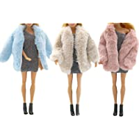 3 PCS Multicolor Long Sleeve Soft Faux Fur Plush Coat Flannel Outfit Tops Jacket Dress Winter Warm Accessories Clothes…