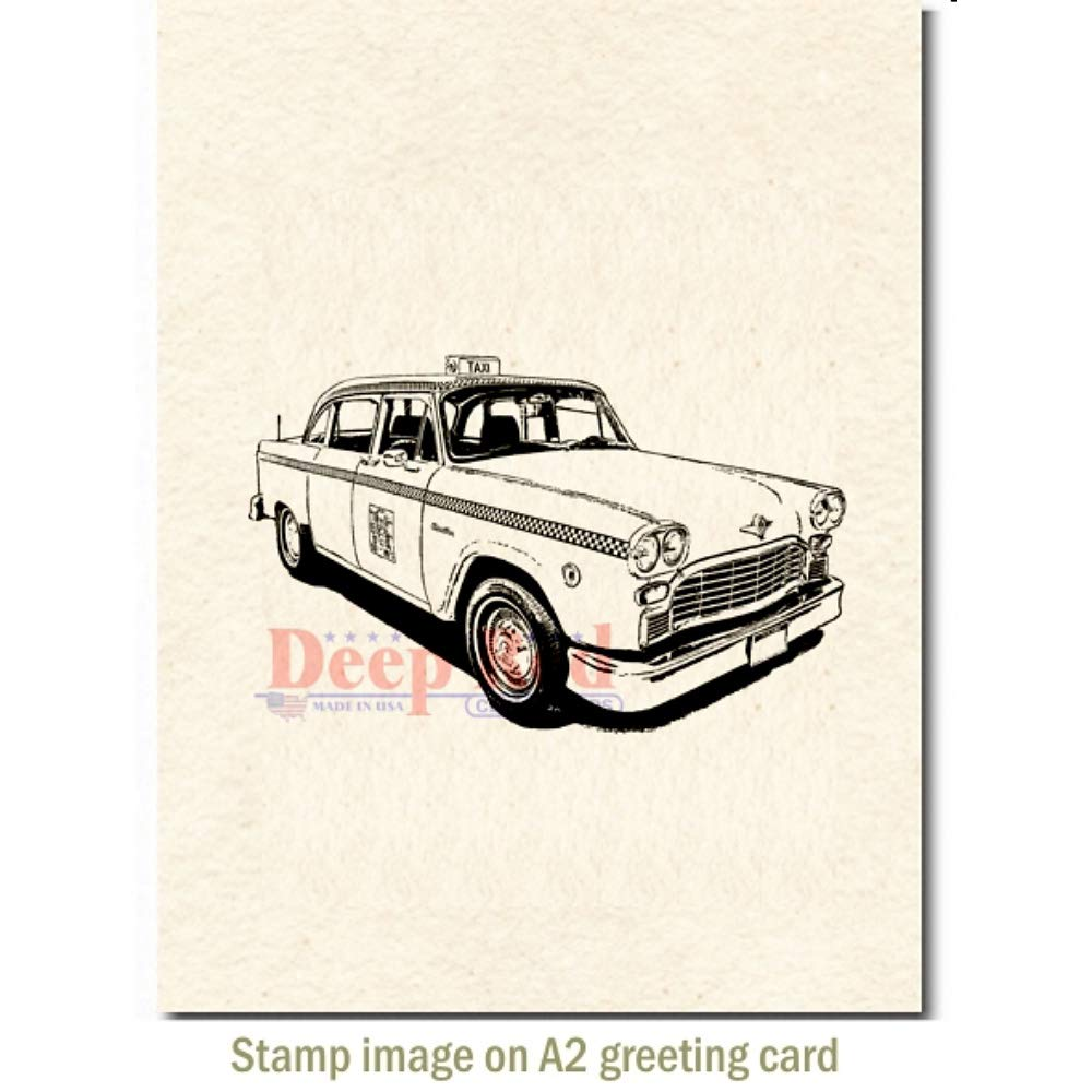 Deep Red Classic Taxi Rubber Cling Stamp
