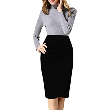 23547d5d632 Jingjqingcao Women Sexy Solid Plus Size Pencil Skirt Elastic OL Ladies  Officewear Knee Length Skirts at Amazon Women s Clothing store