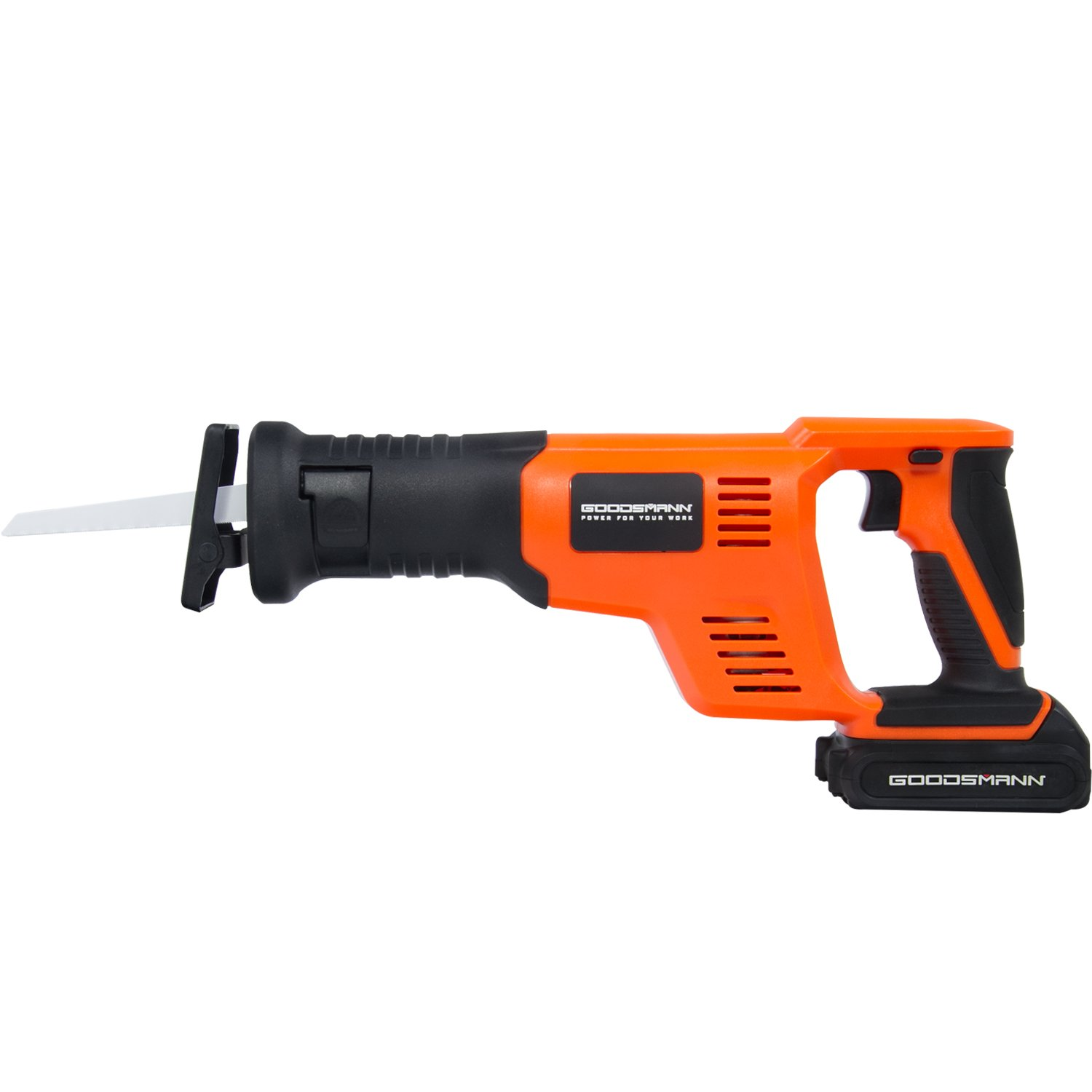 GOODSMANN 18V Li-ion Battery Cordless Compact Reciprocating Saw with 1500 mAh Battery, Variable Speed Reciprocating Saw with 2 Reciprocating Saw Blades(1 Blade Wood and 1 Blade Metal) 9923-1014-01
