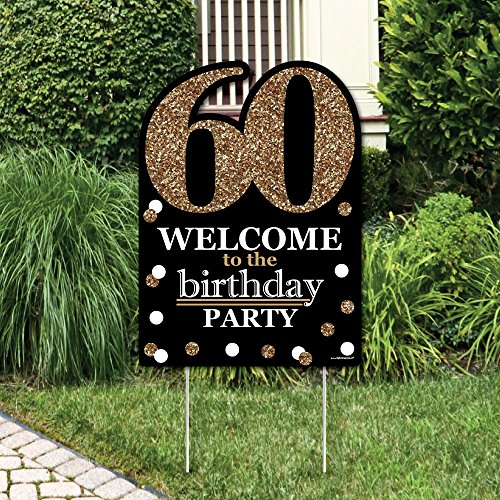 Big Dot of Happiness Adult 60th Birthday - Gold - Party Decorations - Birthday Party Welcome Yard Sign -