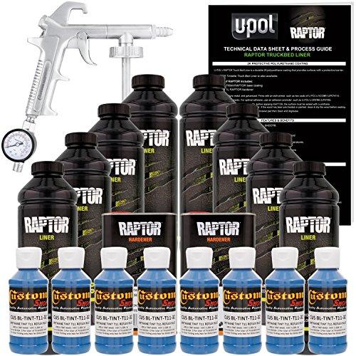 U-POL Raptor Reflex Blue Urethane Spray-On Truck Bed Liner Kit w/ FREE Custom Shop Spray Gun with Regulator, 8 Liters