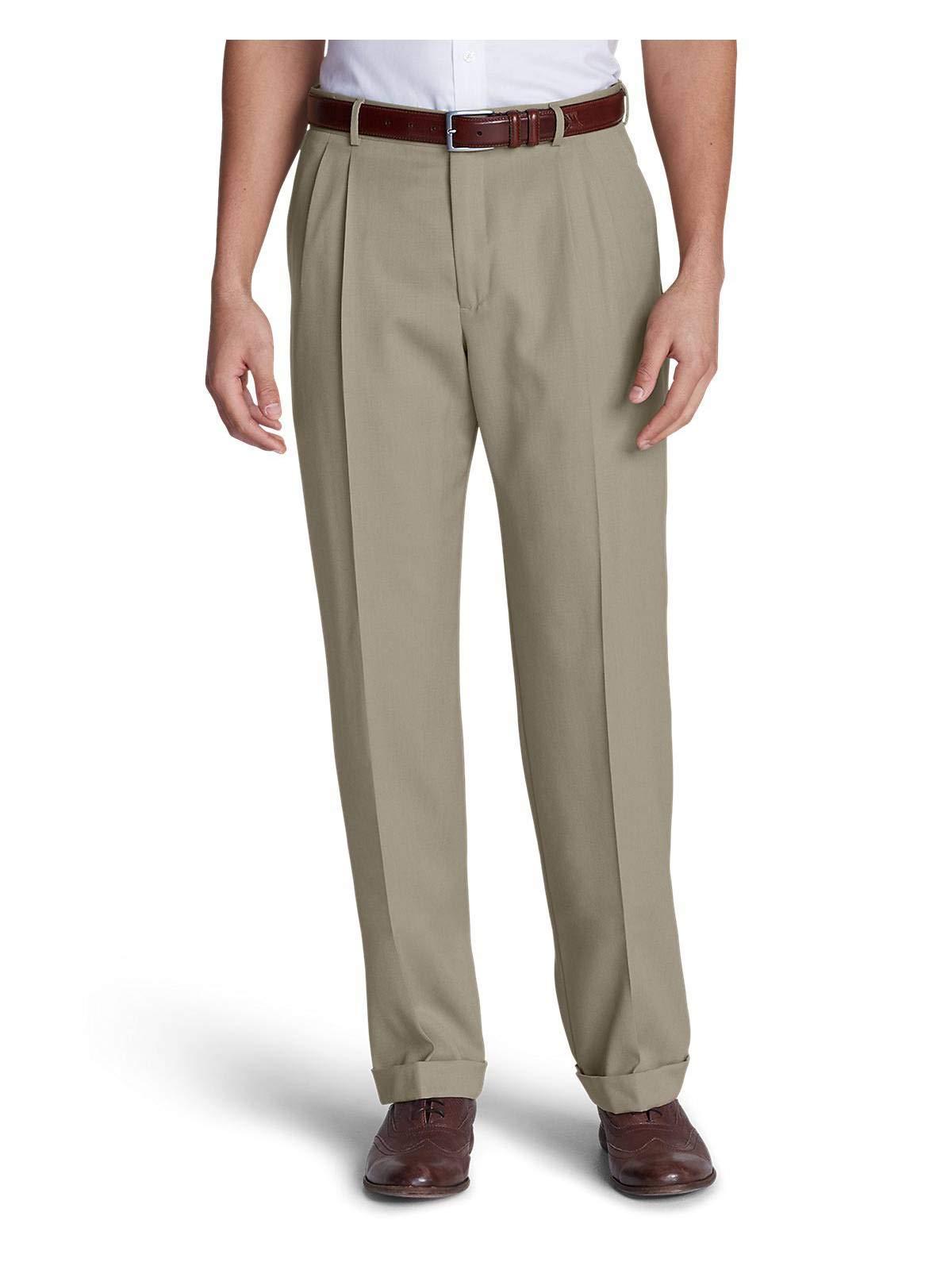 Eddie Bauer Men's Wool Gabardine Trousers - Pleated, Tan Tall 46
