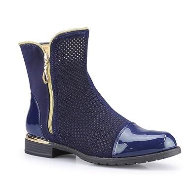 Jepo Damen Boots Stiefeletten Und Lochmuster Mit CtQdshr